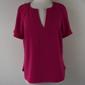 Size Large Notch Neck Polyester Blouse Solid Pink